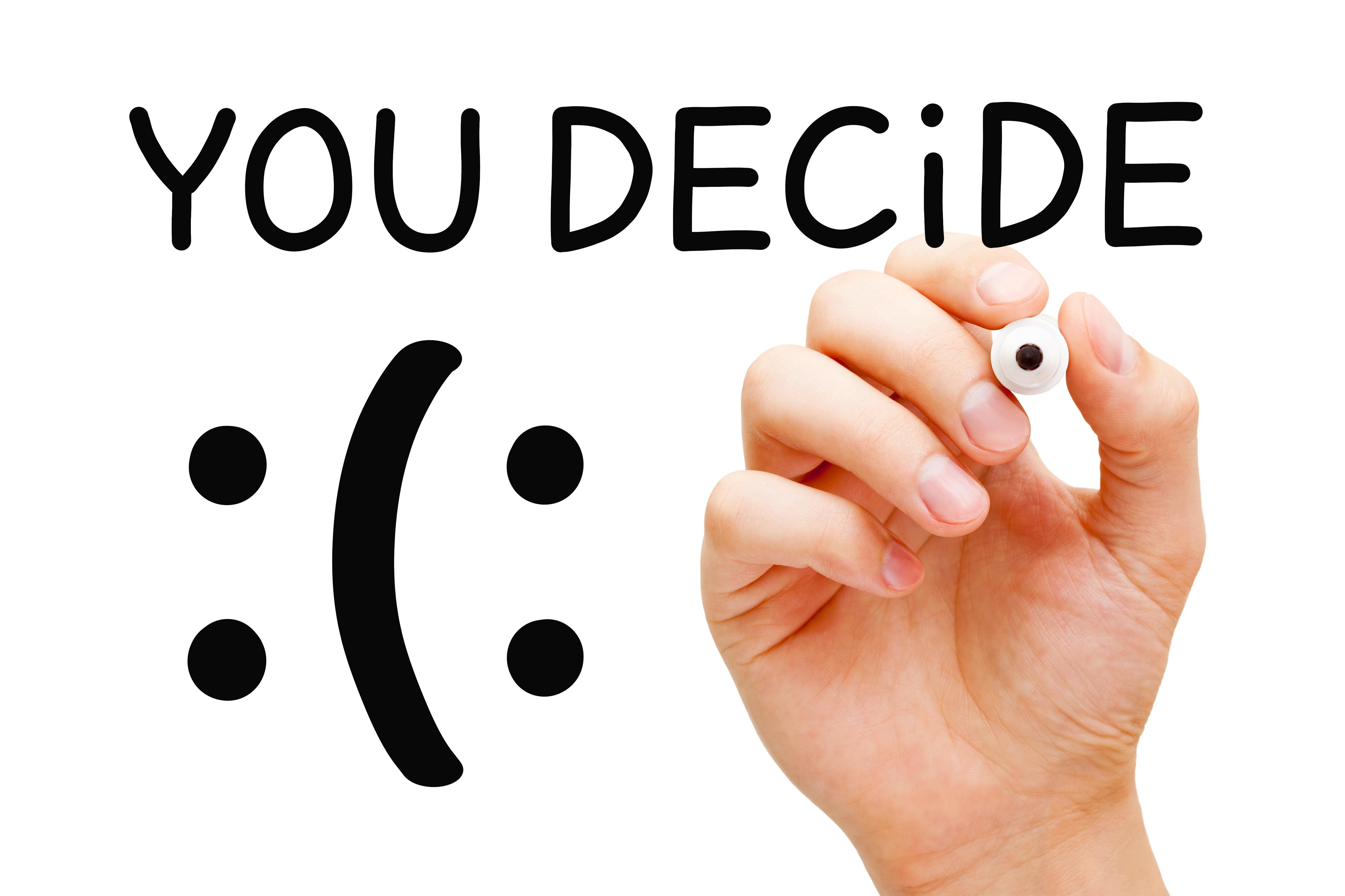Tú decides, pensamientos negativos o pensamientos positivos
